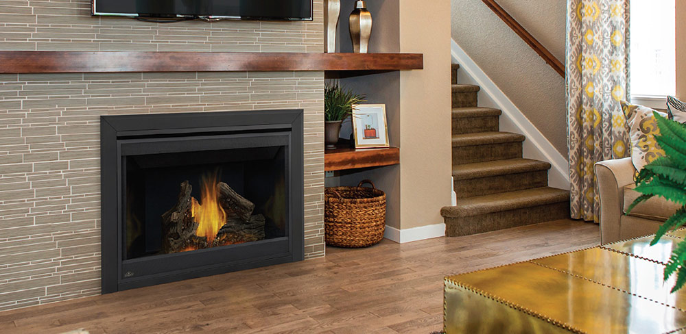 gas fireplace with tile