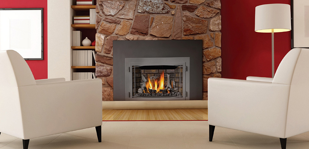 gas fireplace with stone
