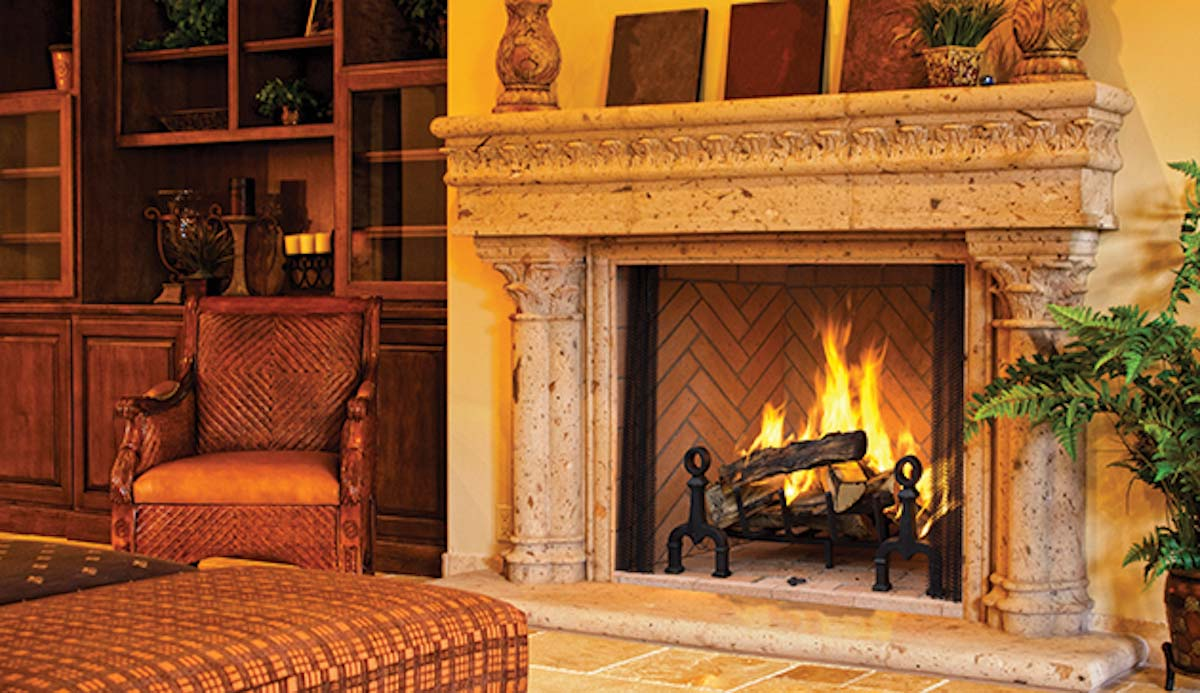 wood fire place with marble mantel